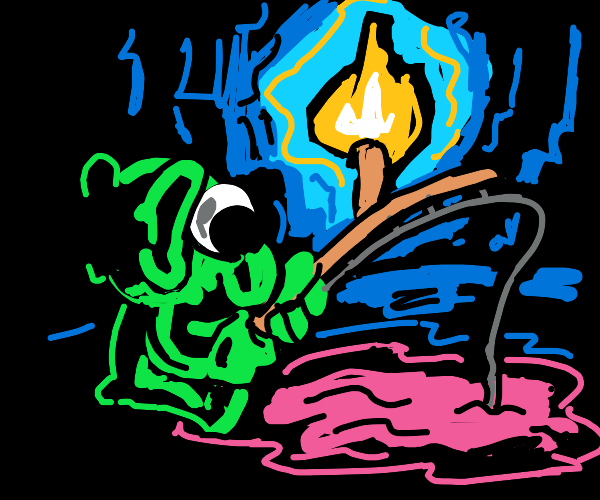 Goblin fishing in a cave