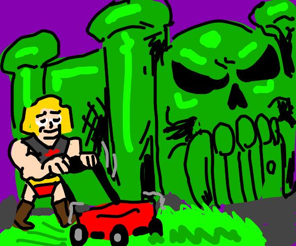 He-Man mows grass around Castle Grayskull