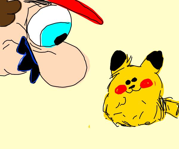 Mario stares at a fluffy pikachu