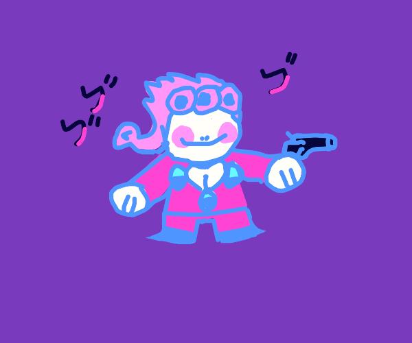 Tiny Giorno with a gun