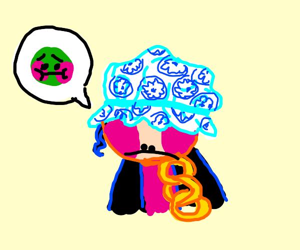 Jotaro in a shower cap feeling ill