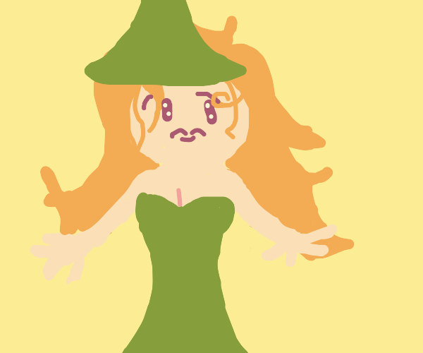 Tinkerbell as a witch with long hair.