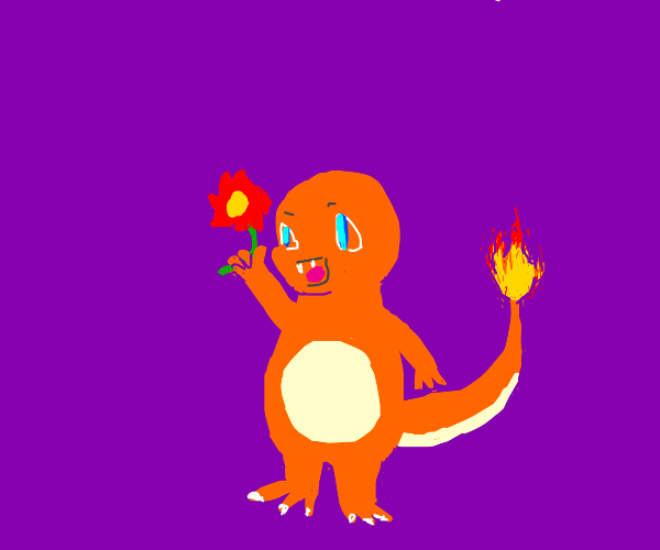 Happy Charmander holding a flower