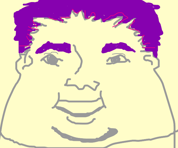 Man with double chin and purple anime hair