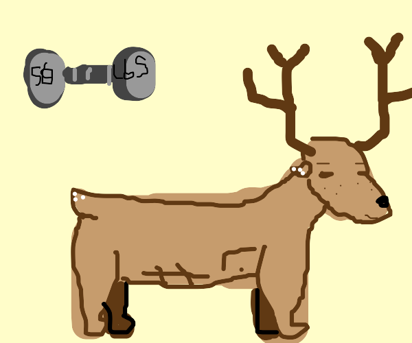 Deer with massive abs and pecs.