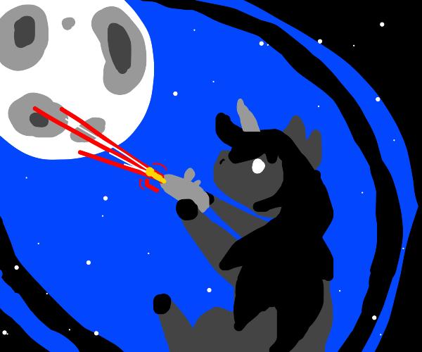 shadow unicorn shoots laser at the moon