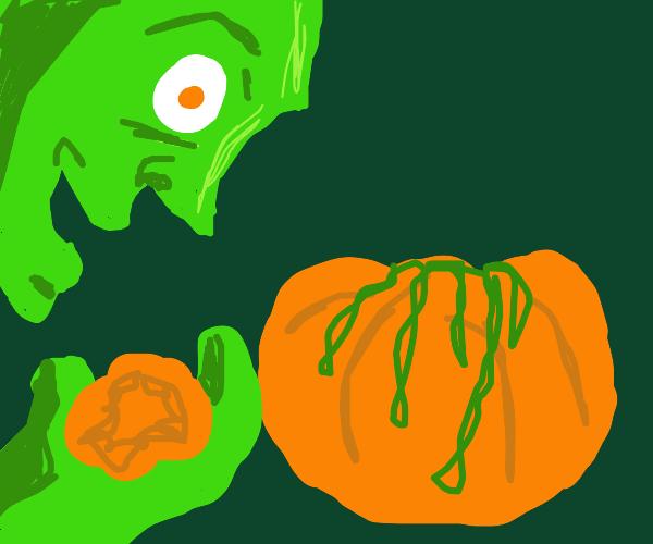 zombie eats pumkins brain