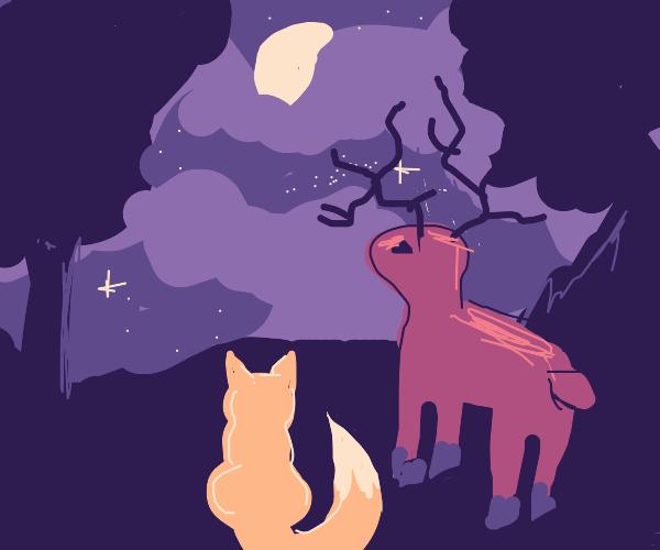 Demonic Deer and Fox Star Gaze Together