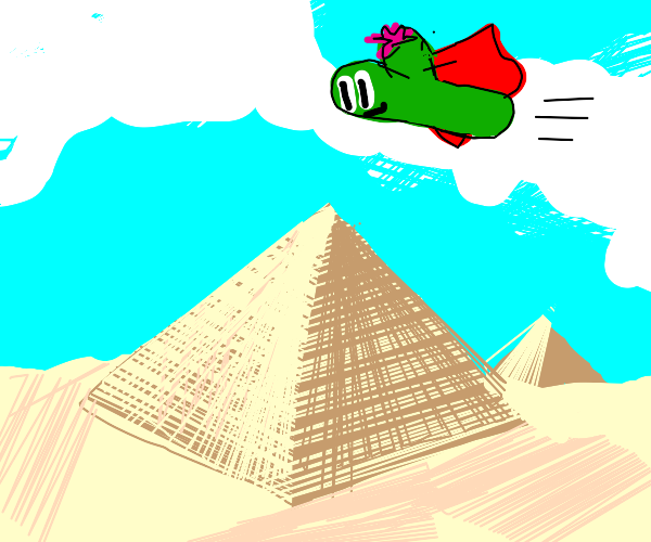cactus with a cape flying over the pyramids