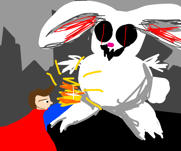 Super hero gives offering to bunny demon