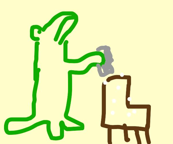 Crocodile salting a Chair