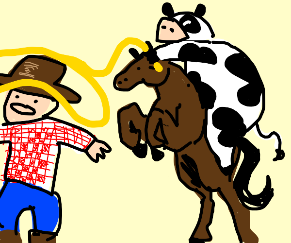 Cow riding horse while lassoing cowboy