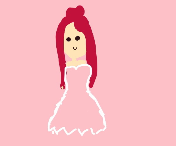 red-haired princess with pink dress