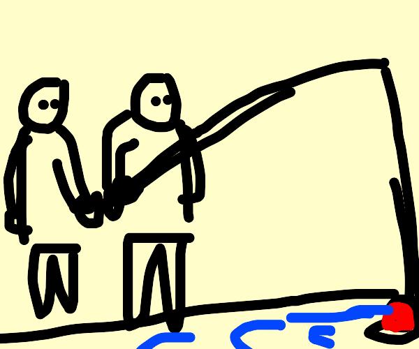 two guys co fishing