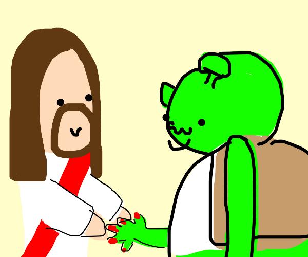 Jesus doing shreks nail polish