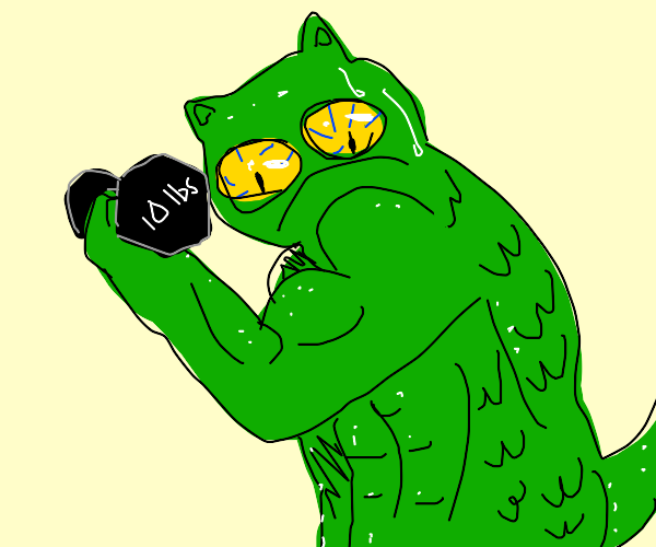 Cat lizard goes to the gym