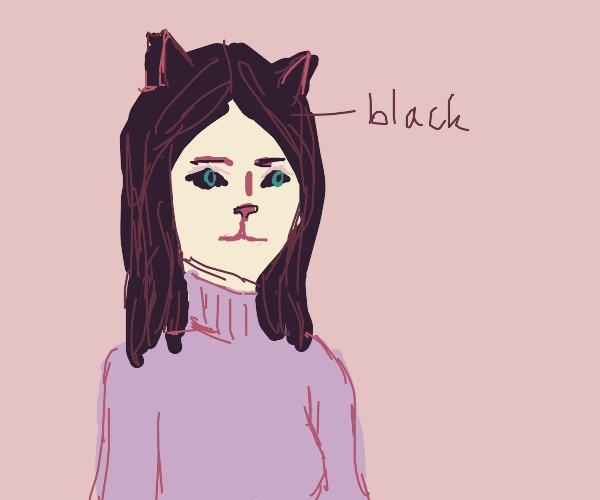 Catgirl with black hair and black eyes.