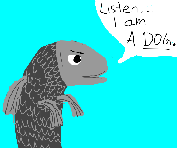 A fish saying he is a dog