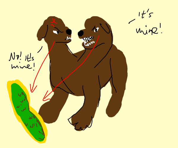 two headed cerberus fighting over a pickle