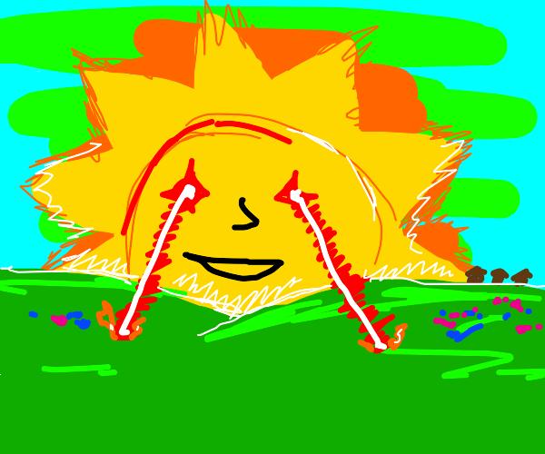 The Sun shooting a lazer through happy hills