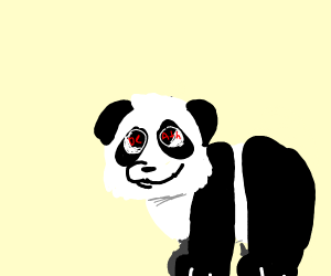 "a panda with eyes that spell ""death"""