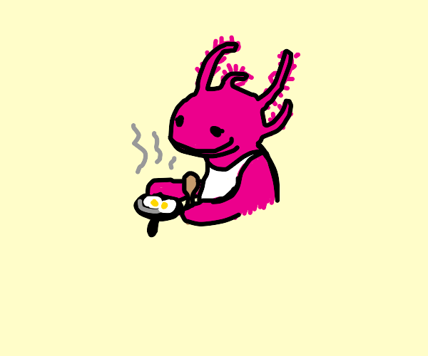 axolotl making breakfast