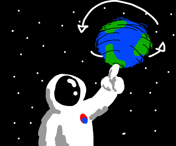 Astronaut spins planet on his finger