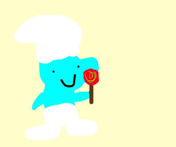 Smurf Eating Lollipop