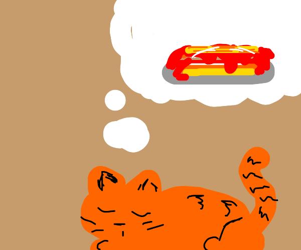 Garfield dreams of lasagna