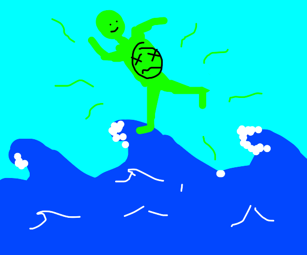 Poisonous person hovers above ocean.