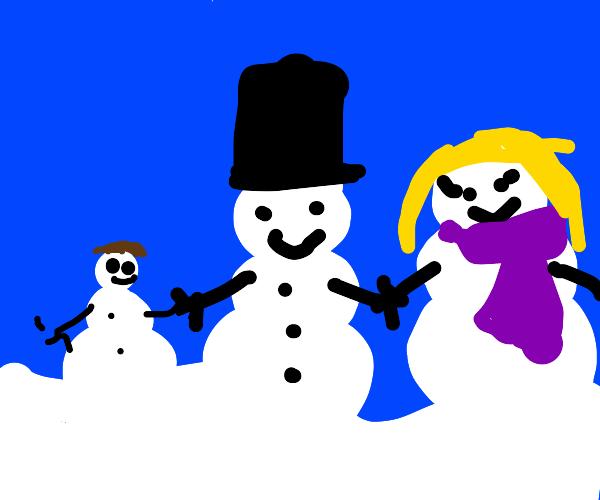 Happy snowperson family