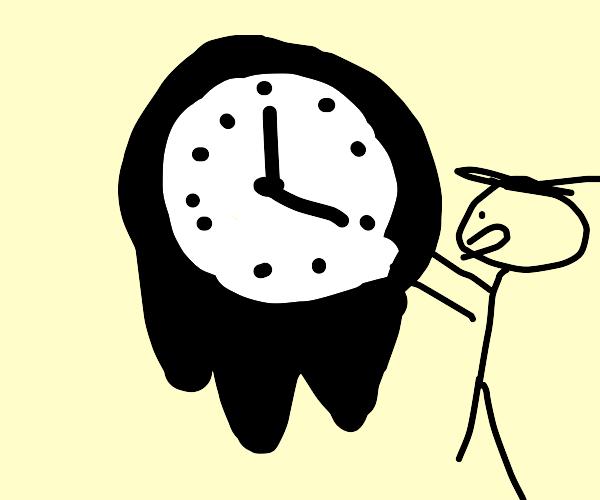 Man tries to fix melting clock