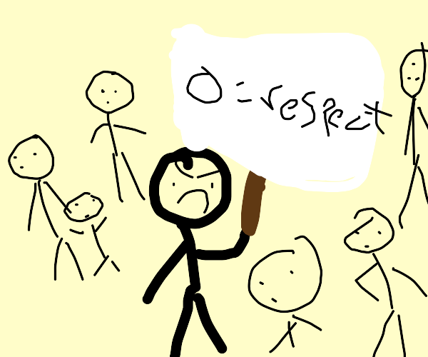 Man holding a sign that says circle=respect