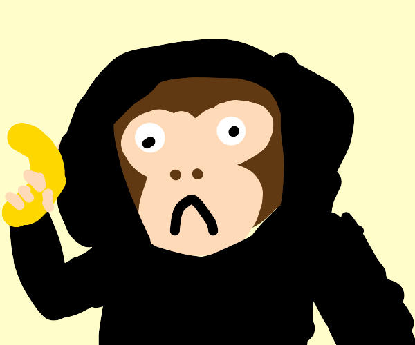 Monkey wears a hoodie and holds a banana