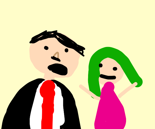 hitler is about to eat a green haired gal