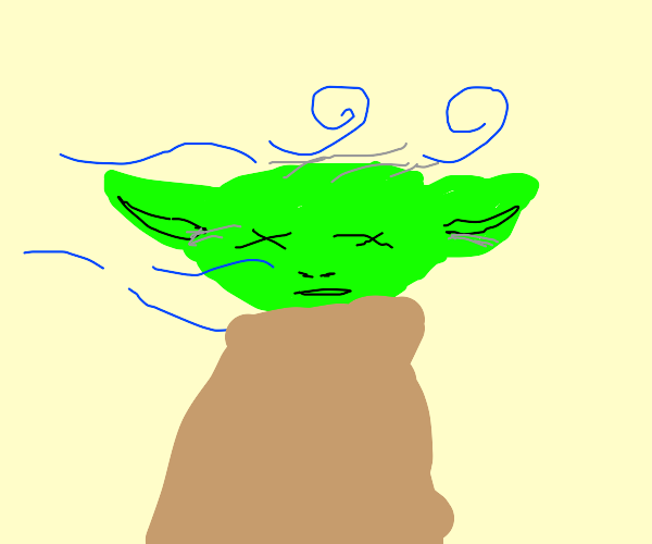 Dead yoda with the wind blowing in his face