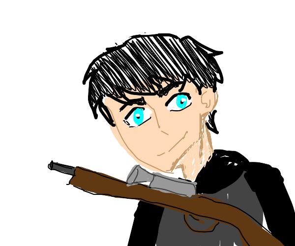 man /w anime eyes holds sniper rifel