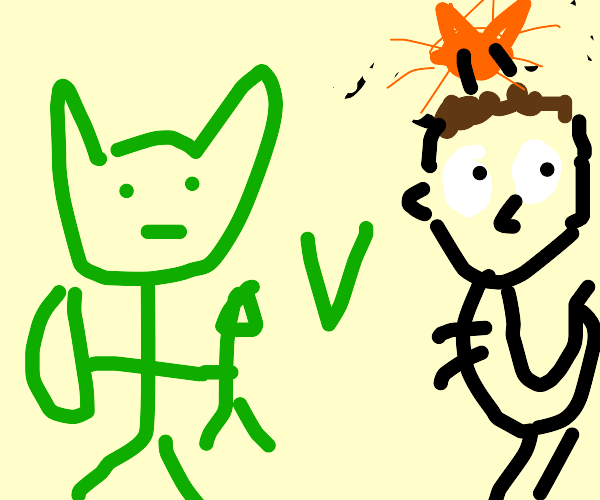 Green Elf Man vs T-Rex Jon Arbuckle