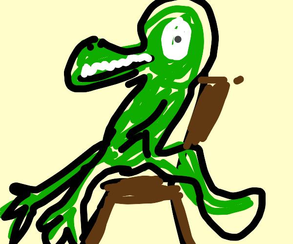 lizard on a chair