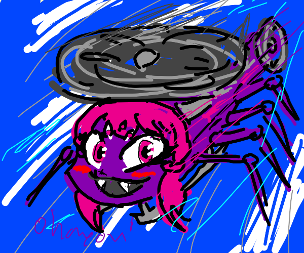 Anime Spider Helicopter flies in the sky