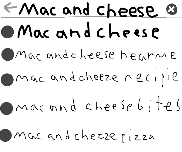 Searching up Mac and Cheese