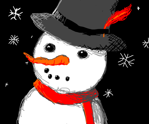 A snowman with a feather in his hat
