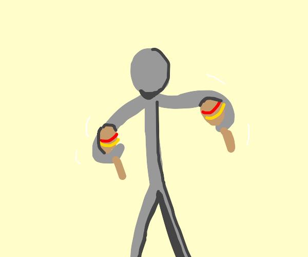 Grey guy holds maracas