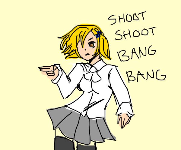 anime school girl shoot shoot bang bang