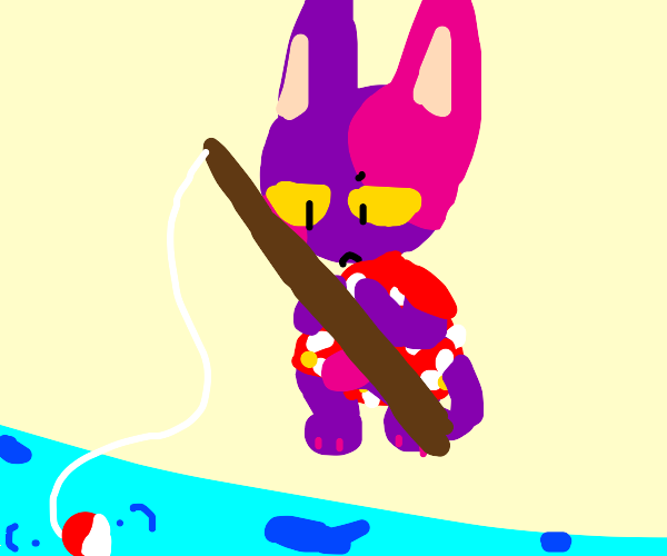 Bob the cat tries to fish but theres no fish