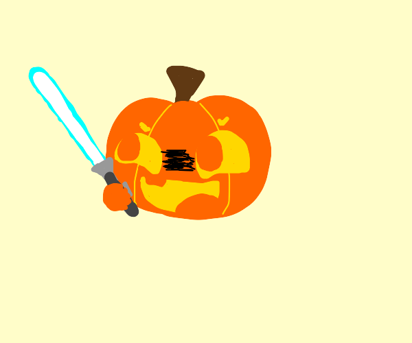 Jack o lantern with a light saber