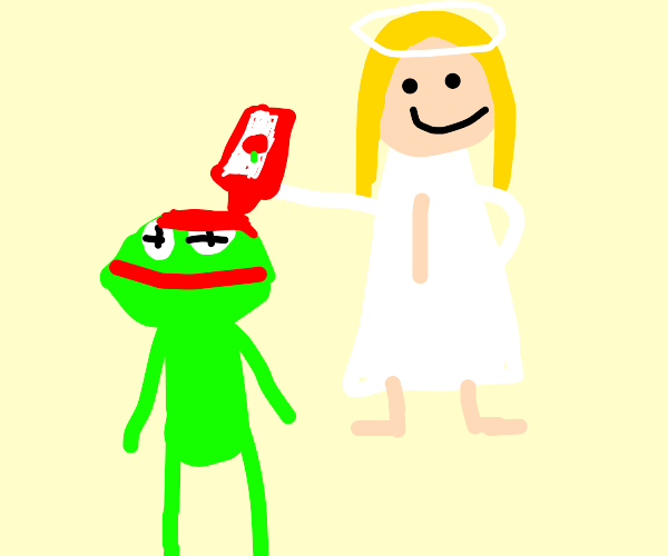 angel pours ketchup on kermit