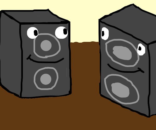 speakers with smiley face