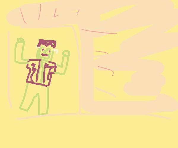Frankenstein monster tears through wall