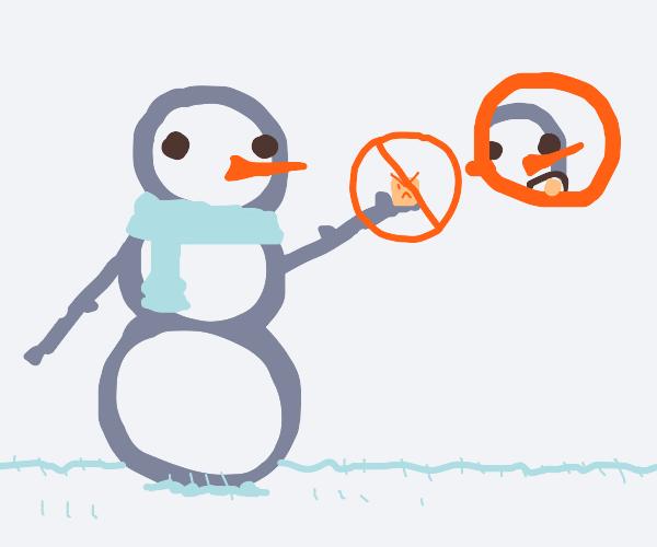 Snowman can't eat evil marshmallows
